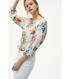 Bluse, tropical summer, ecru 01052002-5041