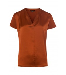 Blusenshirt, Satinfront, terracotta