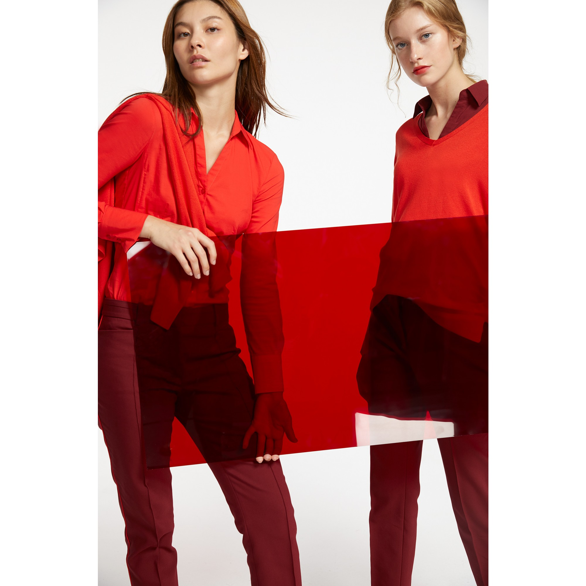 Businessbluse, wine red 91082572-0548