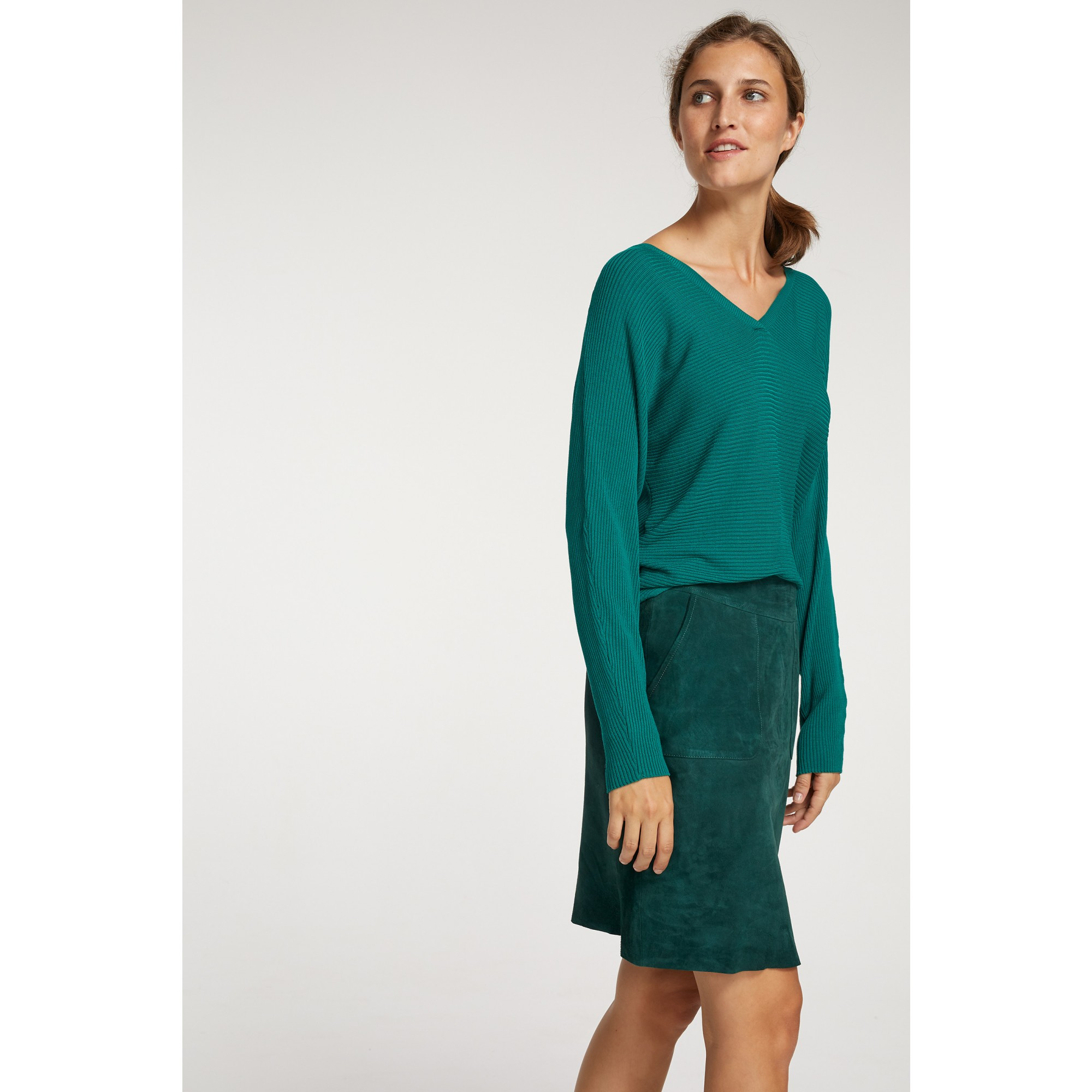 V-Neck Pulli, emerald green 91091002-0655