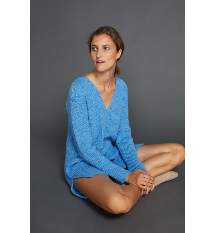 Long-Pullover, Rippe, winter blue 91641088-0329